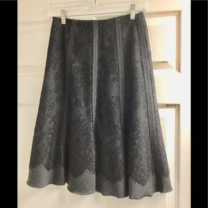 Elie Tahari Black lace layered grey skirt size 2
